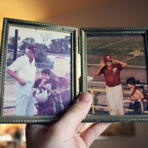 Picture frame with old pictures of father and son