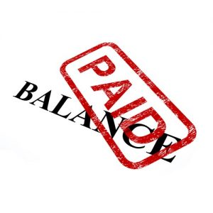 Rubber stamp indicating balance has been paid
